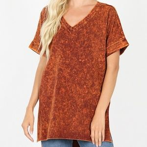 Plus Size Orange Mineral Wash Zenana Top